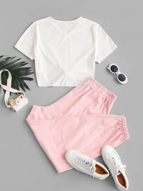 ZAFUL Ensemble de T-shirt Cargo Graphique Auto-Noué de Grande Taille et de Pantalon Bicyclette - Rose clair 4XL Mobile