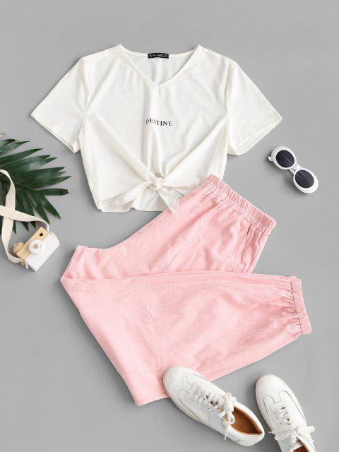 outfits ZAFUL Plus Size Self-tie Destine Graphic Tee and Cargo Pants Set - LIGHT PINK 5XL Mobile