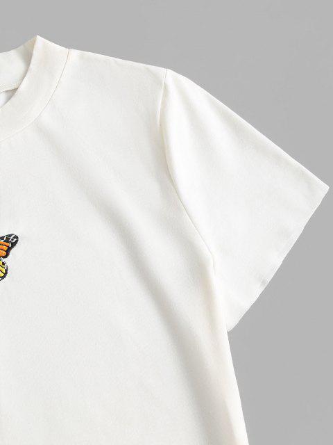 ZAFUL T-shirt de Bébé Papillon Brodé à Ourlet Brut Grande Taille - Blanc L Mobile