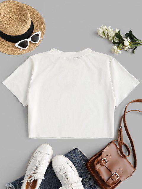 T-Shirt Taglia Forte con Ricamo Farfalla di ZAFUL - Bianca 5XL Mobile
