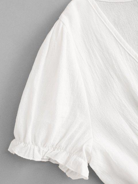 chic ZAFUL Cotton Split Hem Puff Sleeve Mini Dress - WHITE S Mobile