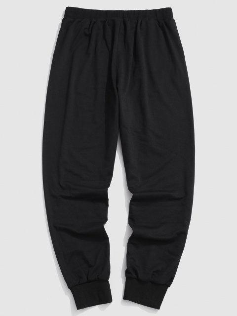 trendy Letter Graphic Print Jogger Pants - BLACK S Mobile