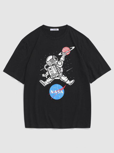 Astronaut Letter Print Graphic T-shirt - أسود S Mobile