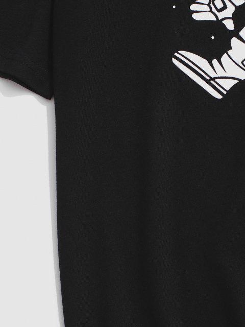 T-Shirt con Grafica di Astronauta - Nero S Mobile