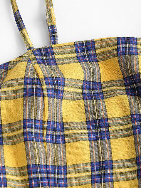 ladies ZAFUL Plus Size Checked Smocked Back Top and Skirt Set - DEEP YELLOW 5XL Mobile