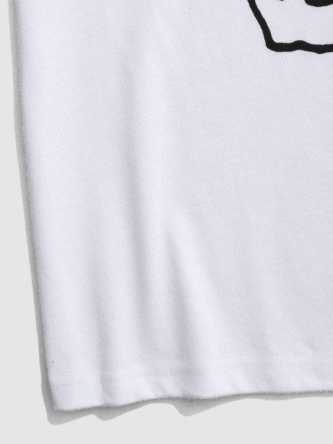 Maglietta con Stampa a Cactus e Teschio di Cartone - Bianca M Mobile