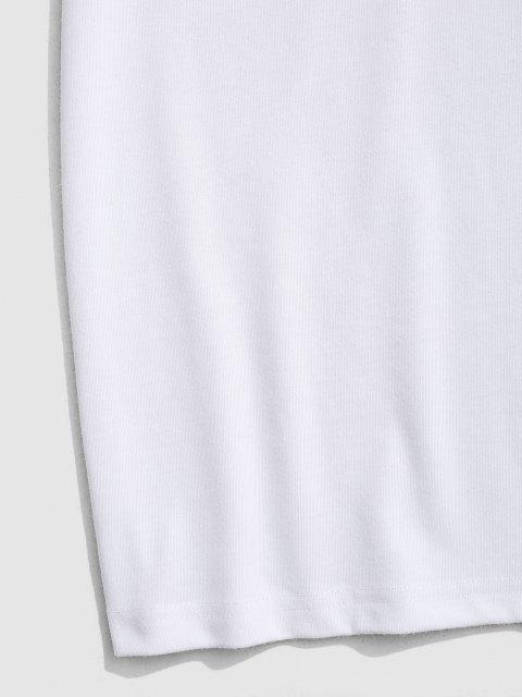T-Shirt Grafica a Faccia con Maniche Corte - Bianca XL Mobile