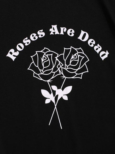 fashion Letter Rose Flower Print Graphic T-shirt - BLACK 2XL Mobile