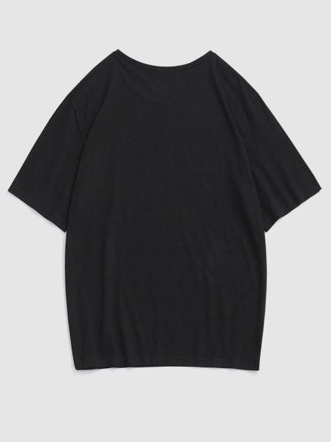 Letter Rose Flower Print Graphic T-shirt - أسود 2XL Mobile