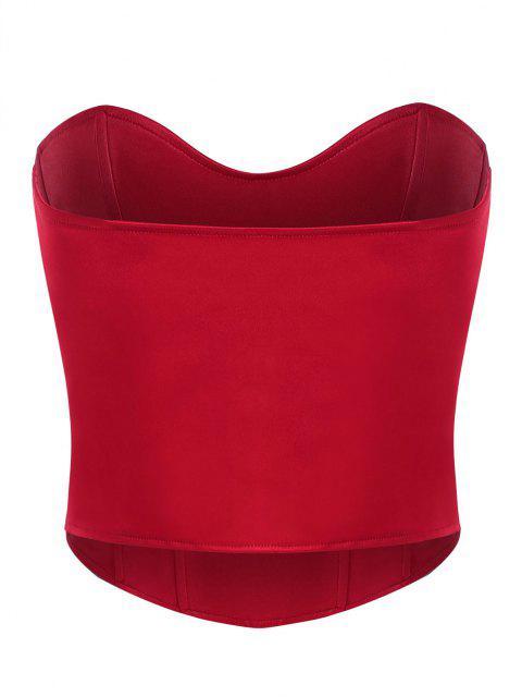 Haut Corset sans Bretelle Brillant en Forme de Cœur - Rouge S Mobile