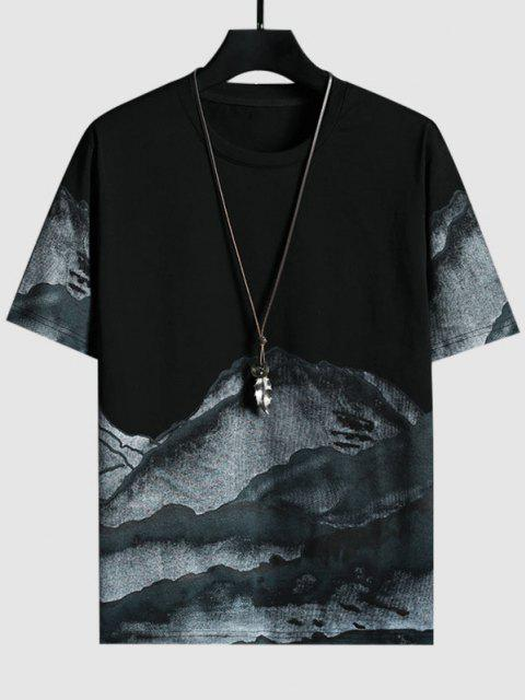 shops Mountains Ink Painting Print Short Sleeve T-shirt - BLACK S Mobile
