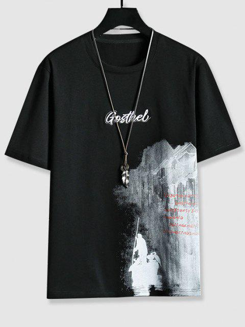 Letter Embroidered Graphic Print T-shirt - أسود XS Mobile