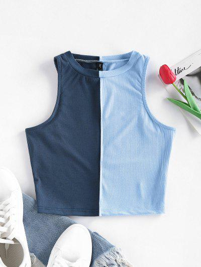 ZAFUL Ribbed Colorblock Topstitching Crop Tank Top - Deep Blue L