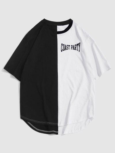 ZAFUL Letter Print Two Tone Monochrome T-shirt - Black Xl