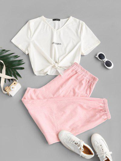 ZAFUL Plus Size Self-tie Destine Graphic Tee And Cargo Pants Set - Light Pink 5xl
