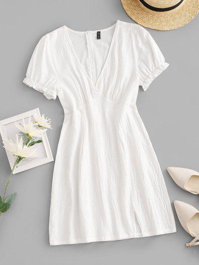 ZAFUL Cotton Split Hem Puff Sleeve Mini Dress - White S