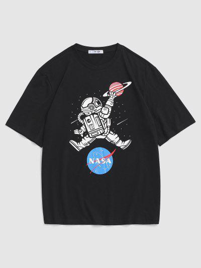 Astronaut Buchstabedruck Graphik T-Shirt - Schwarz L