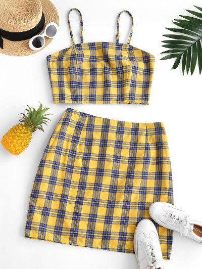 ZAFUL Plus Size Checked Smocked Back Top And Skirt Set - Deep Yellow 3xl