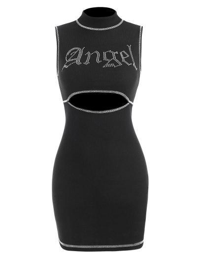 Ribbed Angel Rhinestone Topstitching Cutout Dress - Black S