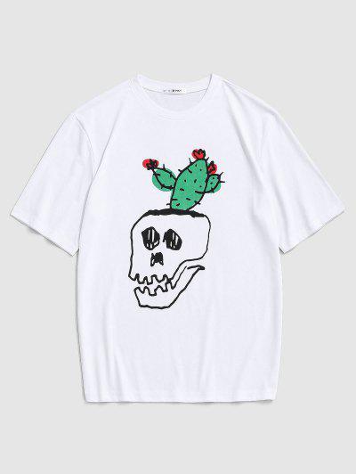 Cartoon Skull Cactus Print T-shirt - White S