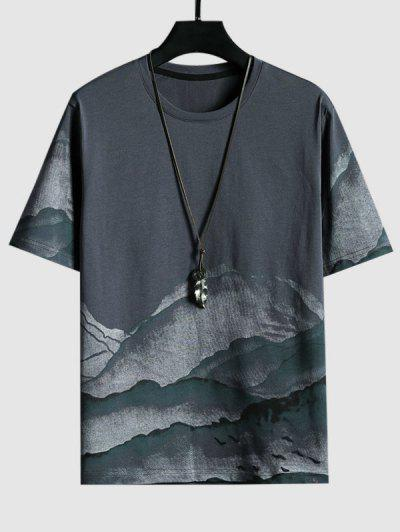 Mountains Ink Painting Print Short Sleeve T-shirt - Gray L