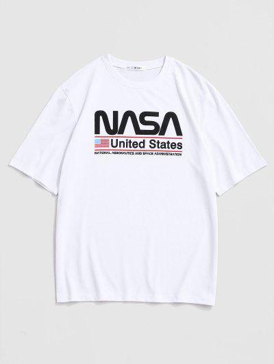 United States American Flag Print Graphic T-shirt - White M