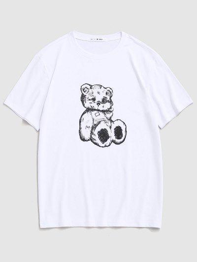 Cartoon Bear Print Cute T-shirt - White S