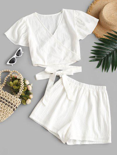 Surplice Knotted Flutter Sleeve Two Piece Shorts Set - White S
