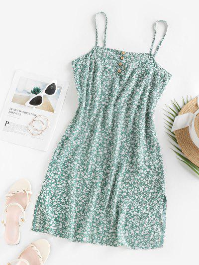 ZAFUL Ditsy Print Buttoned Slit Dress - Green M