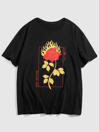 Fire Rose Flower Print Graphic T-shirt - Black Xl