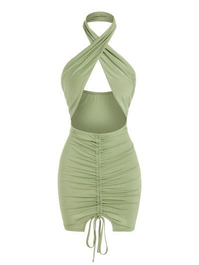 ZAFUL Open Back Cinched Cutout Bodycon Dress - Light Green S