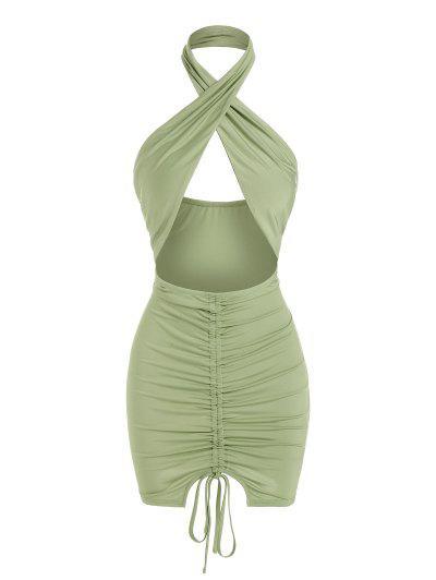 ZAFUL Open Back Cinched Cutout Bodycon Dress - Light Green M