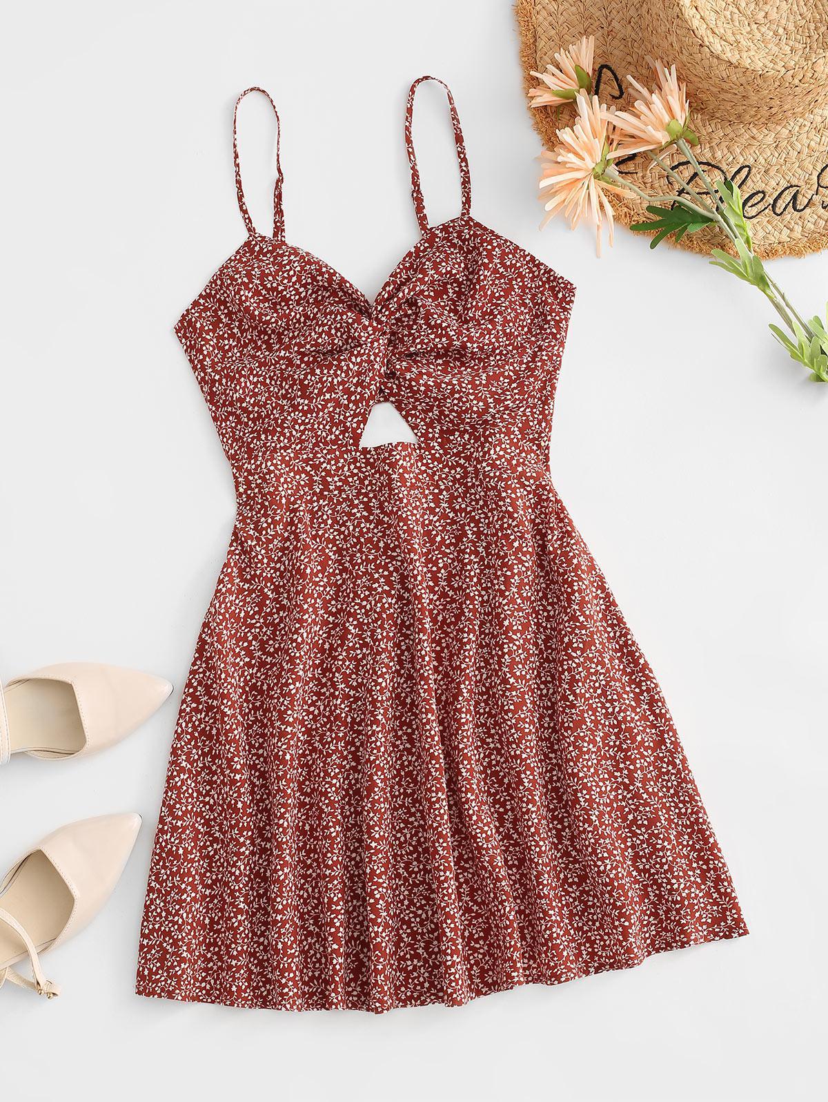 ZAFUL Boho Twist Ditsy Print Back Tie Dress