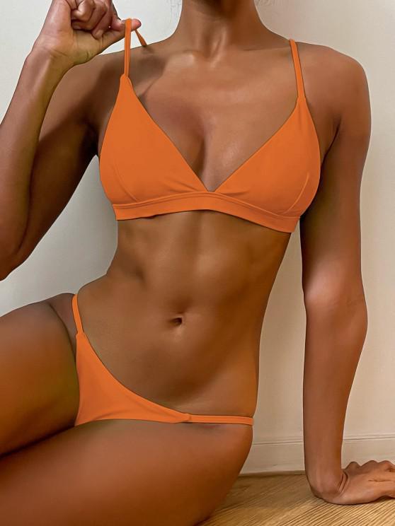 trendy Spaghetti Straps Plunge Thong Bikini Set - ORANGE M