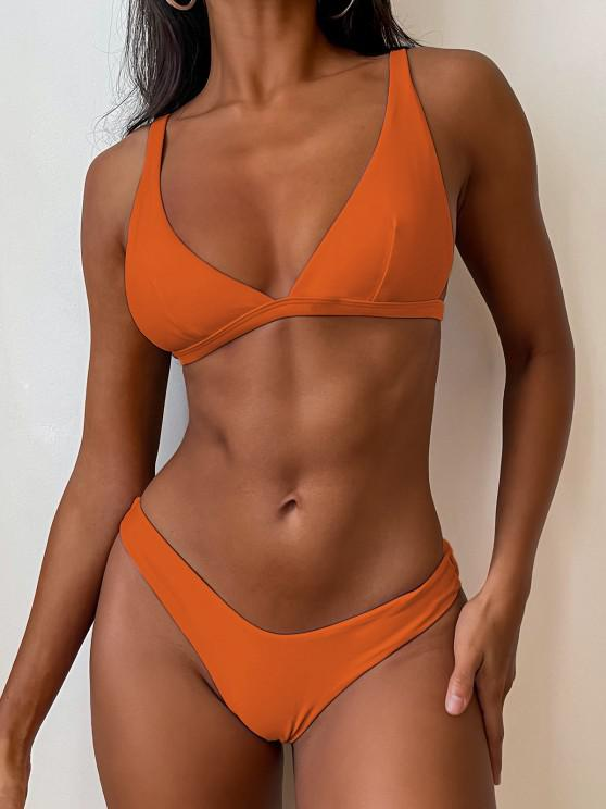 new ZAFUL High Cut Plunge Bikini Swimsuit - PUMPKIN ORANGE S