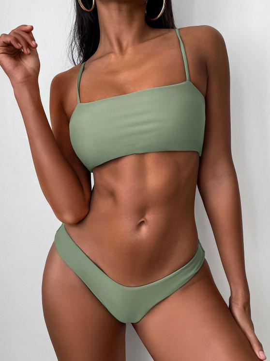 Hochgeschnittenes Chasuble- Bikini -Set - Erbsengrün L