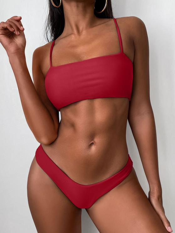 Ensemble de Bikini à Coupe Haute à Bretelle - Rouge M