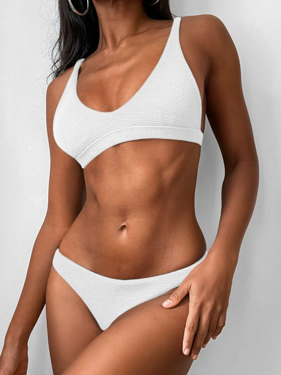 womens Low Waisted Padded Scoop Bikini Set - WHITE S