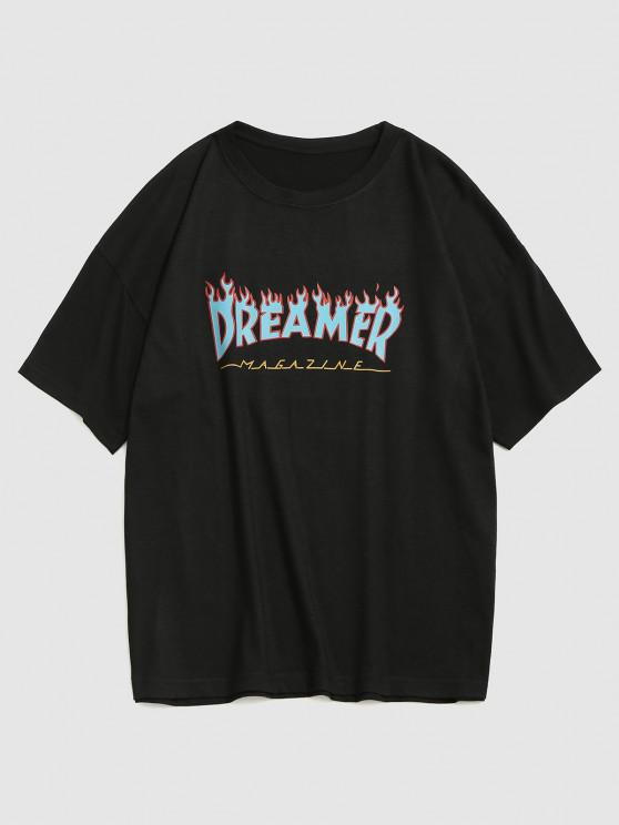 Fire Dreamer Short Sleeve Basic T-shirt - أسود XXL