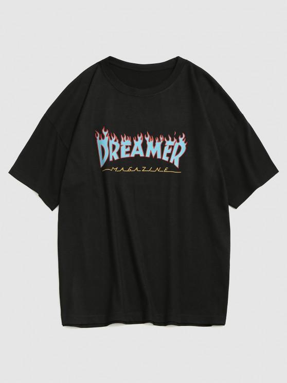latest Fire Dreamer Short Sleeve Basic T-shirt - BLACK XL