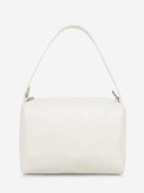 shop PU Retro Chain Solid Tote Bag - WHITE