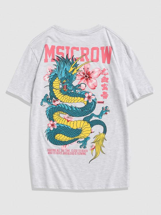 shops Chinese Letters Flowers Dragon Print T-shirt - LIGHT GRAY M