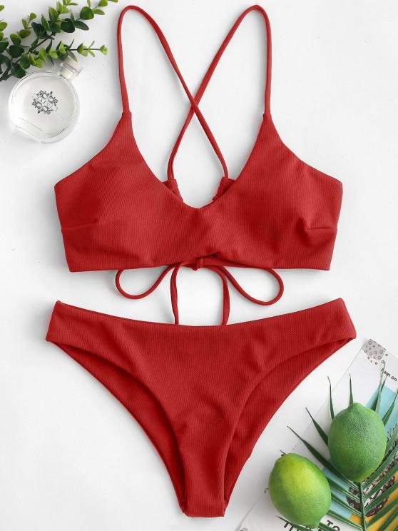 fashion ZAFUL Criss Cross Textured Padded Bikini Swimsuit - RED S