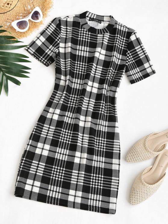 Plaid Houndstooth Mini Bodycon Dress - أسود L