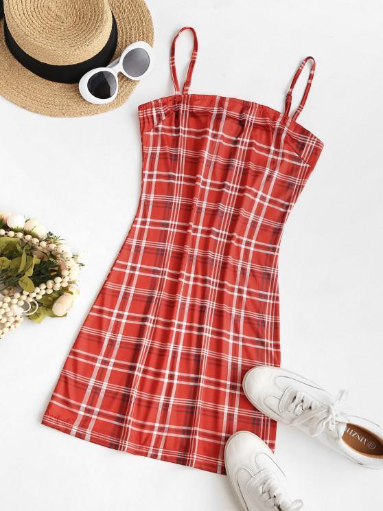 Plaid Cami Bodycon Dress - أحمر L
