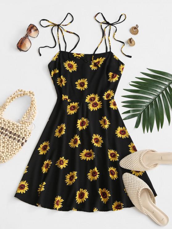 unique Flower Print Tie Shoulder Mini Dress - BLACK M