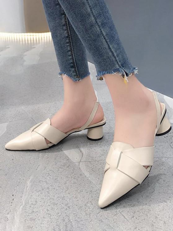 sale Pointed Toe Cross Block Heel Sandals - WARM WHITE EU 40
