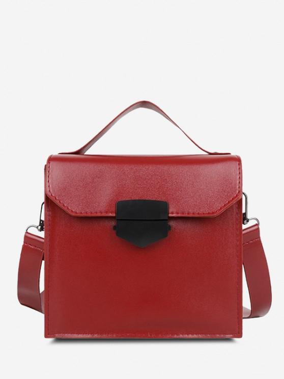shop PU Retro Solid Crossbody Bag - RED