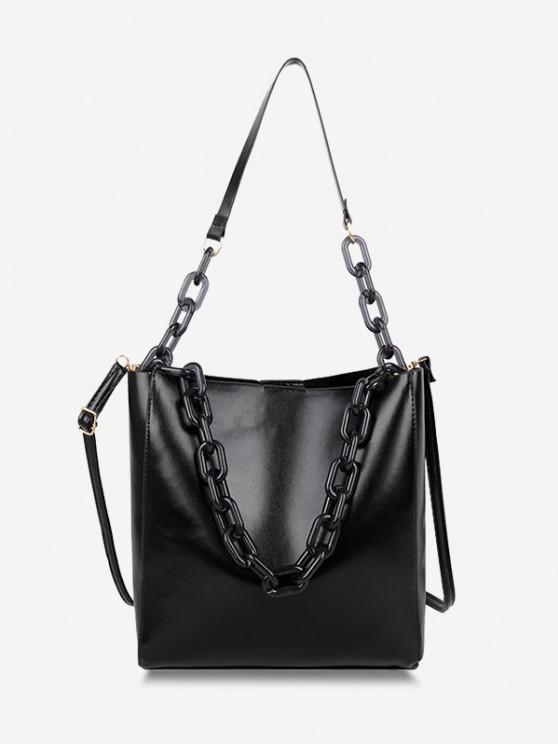 trendy High Capacity Chain Bucket Crossbody Bag - BLACK