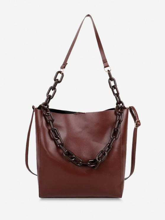 fancy High Capacity Chain Bucket Crossbody Bag - COFFEE